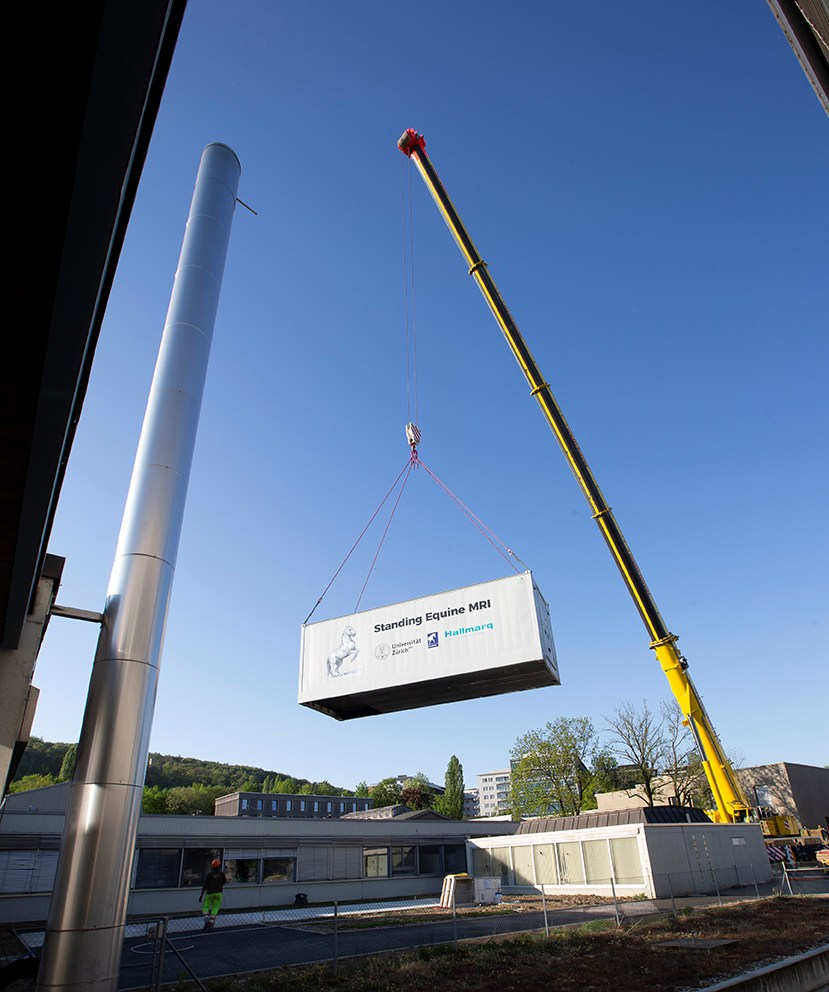 Picture of standing MRI System in a shipping container Zurich